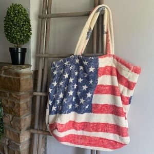 American Flag Terry Cloth Tote